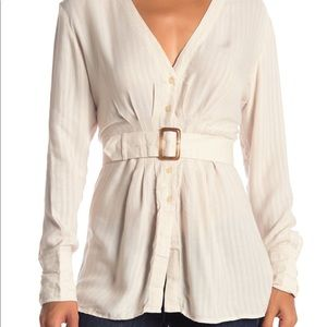 FREE PEOPLE BELTED BUTTON DOWN BLOUSE XL